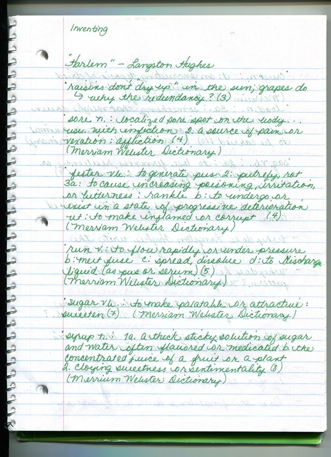 harlem poem by langston hughes students teaching english paper  this page of my journal contains a few more definitions and several interpretive questions as i the poem another 3 4 times i began to see certain