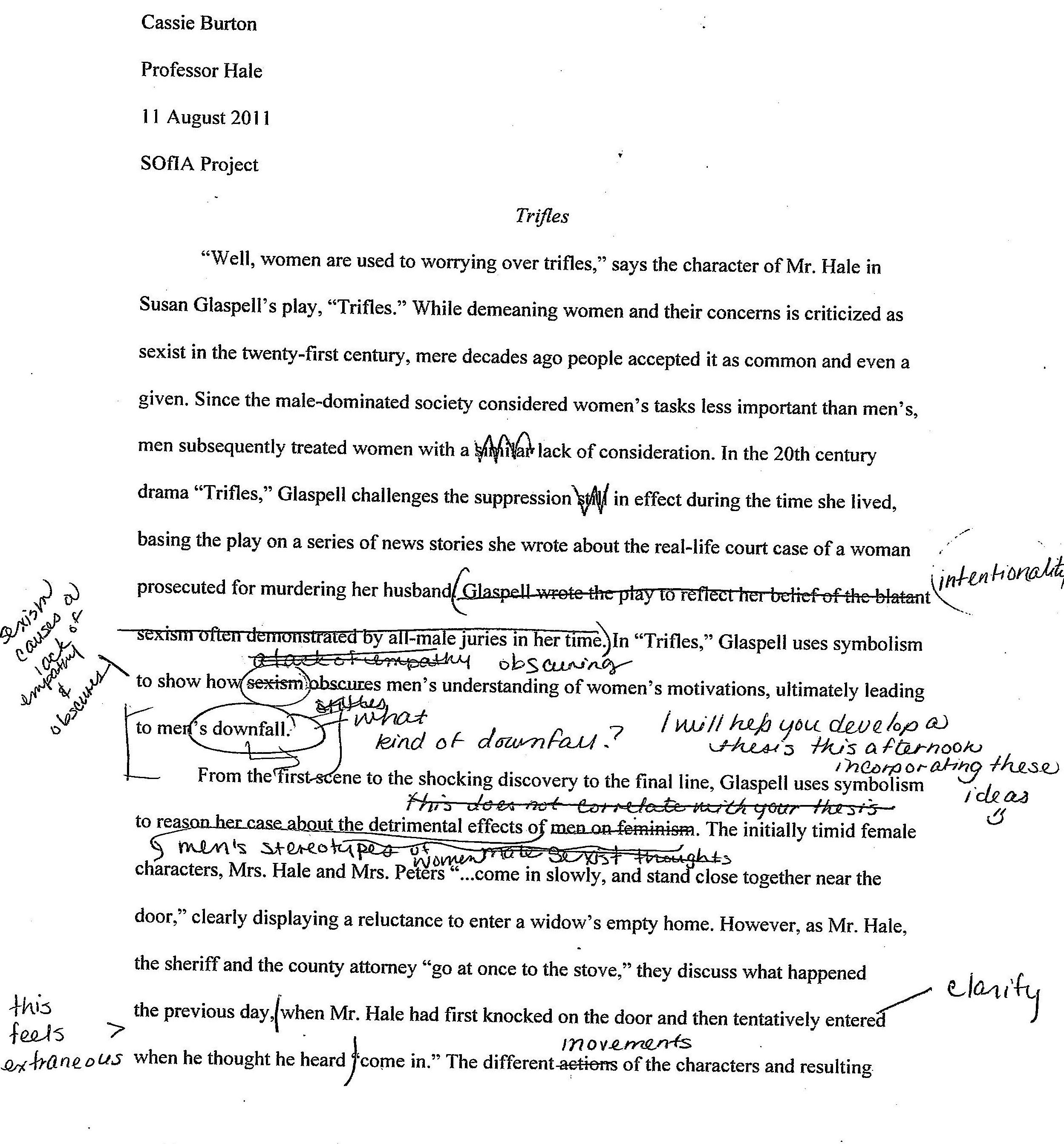 symbolism essay examples trifles by susan glaspell students  trifles by susan glaspell students teaching english paper strategies second peer edit page 1 good college admission essays example